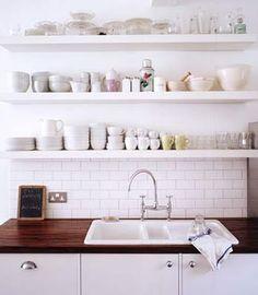 Open shelves, subway tile and butcher block countertop. Kitchen Ikea, Kitchen Shelves, Kitchen Dining, Kitchen Decor, Kitchen Cabinets, White Cabinets, Kitchen White, Kitchen Sink, Kitchen Wood