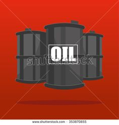 Three Oil barrels or drums shown in perspective suspended on a red background with the word OIL added in white text