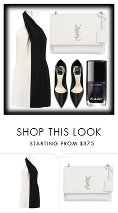 """Two Tone Dress"" by lovely-lizzye ❤ liked on Polyvore featuring Halston Heritage, Yves Saint Laurent, Chanel and twotonedress"