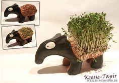 Kresse-Tapir: Mal wieder so ein spinnertes Quer-Projekt. Eine Kundin, die ein großer Tapir-Fan ist, fragte mich, ob ich denn auch Töpfern könne und einen Kresse-Tapir machen wolle.   Ich sagte, na, richtig gelerntes Töpfern nicht, aber eben so wie ich alles mache, einfach Kopfüber in solch ein Projekt reinstürzen und schauen, wie man das hinkriegt ;)