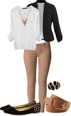 White blouse, black jacket, khaki pants, black flat shoes