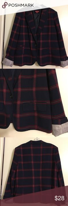 New Plaid blazer. Took the tags off this gorgeous blazer & lost weight before getting to wear it to the office. It's been in my closet sitting. Gorgeous navy with burgundy, gold & pink plaid print. White & blue stripe lined sleeves. Merona Jackets & Coats Blazers