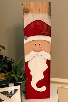 Santa Hand Painted on Reclaimed Wood for Christmas