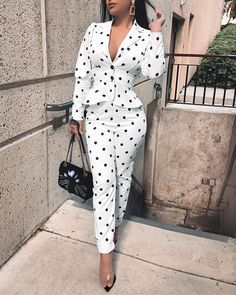 Tight Waist Blazer Coat & Pencil Pant Sets Women's Online Shopping Offering Huge Discounts on Dresses, Lingerie , Jumpsuits , Swimwear, Tops and More. Pantsuits For Women, Ruffle Pants, Pants For Women, Clothes For Women, Two Piece Outfit, Costume, Pattern Fashion, Sleeve Styles, Ideias Fashion