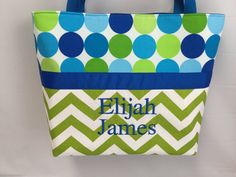 This bag is made from Chartreuse Chevron with Caribe Disco Dots with blues and…