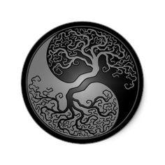 Dark Yin Yang Tree Round Sticker