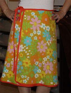 Vintage sheet wrap skirt