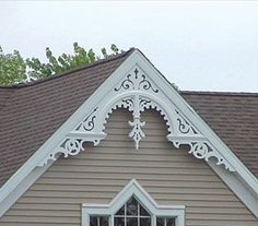 Wholesalemillwork Maintenance Free Gable Decorations - quality home accents at d. - Wholesalemillwork Maintenance Free Gable Decorations – quality home accents at discount prices. Victorian Home Decor, Victorian Cottage, Victorian Porch, Victorian Homes Exterior, Victorian Architecture, Architecture Details, Gable Trim, Gable Roof, Gable Decorations