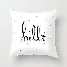 "Hello - 18"" polkadot handwritten quote velveteen pillow cover"