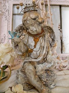 Hand painted shabby cherub statue with crown by AnitaSperoDesign, $175.00