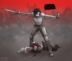 """""""Get back!"""" I slashed the air in a wide arc, driving the rest of the demigods away from Annabeth. """"No one touches her!"""""""