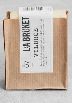 LA Bruket soap #packaging - really cute idea, soap is covered but client can still smell before buying and the soap won't fall out of the sleeve