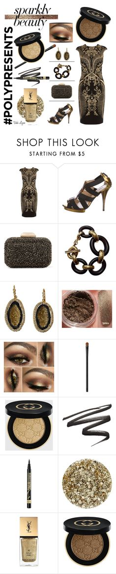 """#PolyPresents: Sparkly Beauty"" by v-l-r ❤ liked on Polyvore featuring beauty, Karen Millen, Oscar de la Renta, Jimmy Choo, Yves Saint Laurent, NARS Cosmetics, Gucci, Rimmel and Smith & Cult"