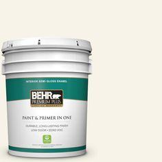 BEHR Premium Plus 5-gal. #W-D-700 Powdered Snow Zero VOC Semi-Gloss Enamel Interior Paint