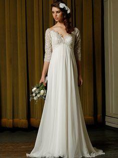 2014 Style Sheath/Column V-neck Appliques Wedding Dresses #GS046