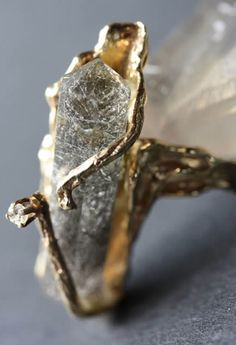 Amazing Faceted Quartz and Gold Ring