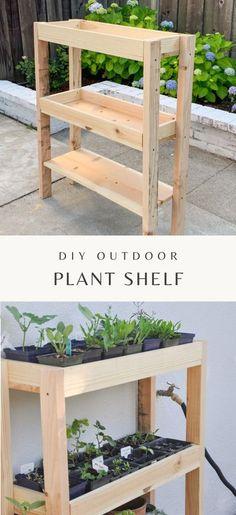 Indoor Plant Shelves, Outdoor Shelves, Garden Shelves, Shelves For Plants, Diy Garden Projects, Diy Garden Decor, Pallet Projects, Diy Outdoor Wood Projects, Outdoor Plants