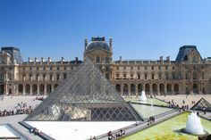 The Louvre pyramid, installed in 1988, provides light to the underground lobby.