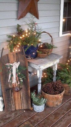 Rustic Christmas Porch...old baskets with pine, lights & cones. Got to do this for the Up coming Holiday..
