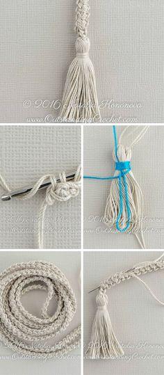 Free Crochet Tutorial - Romanian Cord Drawstring with Tassels