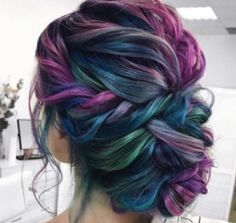 purple and blue braided updo - Frisuren Manner Beautiful Hair Color, Cool Hair Color, Pretty Hair, Short Hair Updo, Curly Hair Styles, Hair Inspo, Hair Inspiration, Pelo Multicolor, Hair Dye Colors