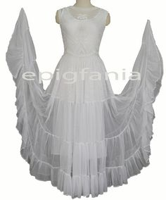 A civil war inspirational 4-tier skirt of beautiful white mesh that goes perfectly with beaded top.