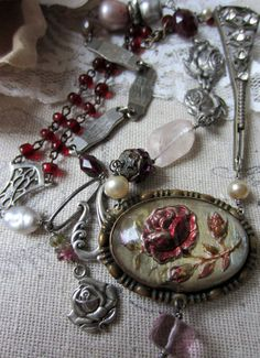 painted roses  vintage assemblage necklace with by TheFrenchCircus, like this.