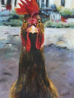 """Daily+Paintworks+-+""""Who+You+Calling+Chicken?""""+-+Original+Fine+Art+for+Sale+-+©+Susan+Galick"""