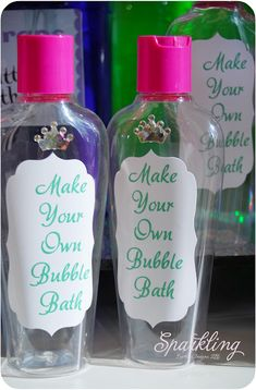 """Make your own bubble bath""- Princess Spa Party for Kaileen's 6th? Hmm Cute"