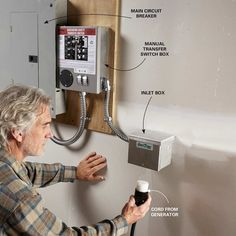 Furnaces, Well Pumps and Electric Water Heaters Require a Transfer Switch - You can use extension cords from your portable generator to power any device with a plug, but anything that's directly connected to your home's wiring, including essentials like y Emergency Generator, Portable Generator, Power Generator, Home Backup Generator, Diy Generator, Emergency Kits, Home Electrical Wiring, Electrical Engineering, Electrical Projects