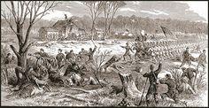 The battle of Shiloh, facing Shiloh church