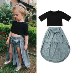 Trendy Toddler Kids Girls Clothes round neck Half sleeve pullover Tops solid bandage Shorts cotton Baby newborn outfits ideen for teens frauen shorts outfits Dresses Kids Girl, Kids Outfits Girls, Toddler Girl Outfits, Kids Girls, Toddler Girls Clothes, Girl Toddler, Baby Girls, Baby Outfits, Newborn Outfits