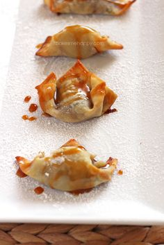 I've made these before ith my family. They are so good and so much fun. Dessert Wontons