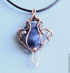 Купить Медный кулон с камнем содалитом - синий, кулон с камнем, кулон с натуральным, кулон с содалитом