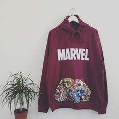 Unisex Custom Cut Sew marvel superheroes comics pouch pocket hoodie in... ($52) ❤ liked on Polyvore featuring tops, hoodies, unisex hoodies, purple hooded sweatshirt, hooded pullover, cartoon hoodie and sweatshirt hoodies