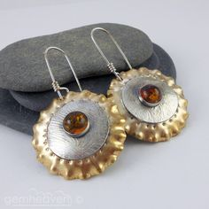 Sterling silver, brass, and Amber cabochon earrings by gemheaven