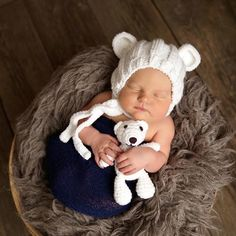 For Sale - Knit - (Inspiration for crochet project) White Teddy Bear Bonnet and Plush Teddy Bear SET