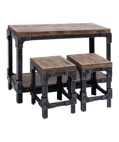 Take a trip in time with this vintage-inspired table and stool set. The classic design and industrial-themed tabletop complete its charm that's perfect for a rustic space. The stools are a perfect resting spot for the family after a busy day!