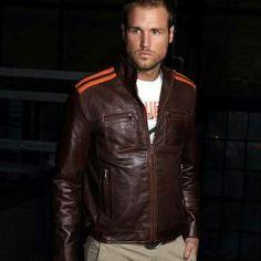 mens grandprix original le cuir brown MC biker motorcycle retro cruisers leather jacket slim fit jacket