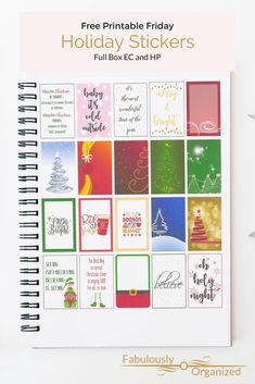 Looking for holiday full box stickers? I've got your back. Free holiday full box printable stickers for both EC and HP Free Planner, Planner Pages, Happy Planner, Printable Planner, Planner Ideas, Printable Stickers, Free Stickers, Planner Stickers, Free Christmas Printables