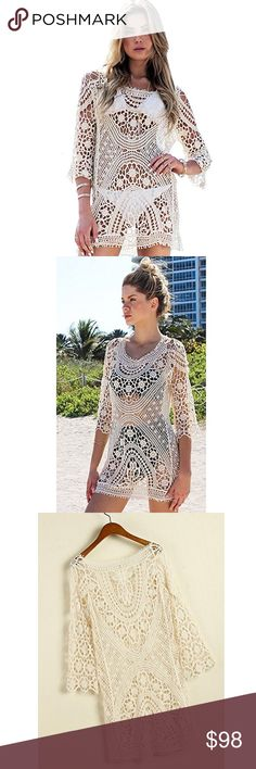 Hand crocheted swimsuit cover-up -Crocheted swimsuit cover-up -Hand-made/ hand crocheted  -Material: Cotton blend -Size: Bust 84 CM Length 74 CM Sleevelength 47 CM Swim Coverups