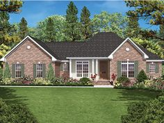 Ranch Home Plan with 1600 Square Feet and 3 Bedrooms from Dream Home Source | House Plan Code DHSW077581