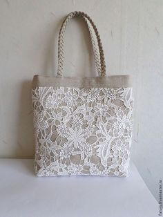 0e9f67f7ecc658b7852db31c24--sumki-aksessuary-sumka-tote-iz-lna-hlopkovogo (525x700, 300Kb) Lace Bag, Hessian Flowers, Denim Ideas, Purse Styles, Girls Bags, Quilted Bag, Fabric Bags, Small Bags, Purses And Handbags