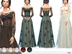 Sims 4 CC's - The Best: Transparent Gown With Lace Applique by Ekinege