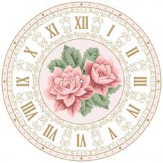 Vintage clock face with roses - Stock Vector , Wall Clock Face Template, Clock Face Printable, Clock Art, Diy Clock, Wall Clocks, Shabby Chic Vector, Clock Tattoo Design, Colorful Roses, Decoupage Vintage