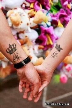 King and Queen Couples Tattoo | InkedWeddings.com