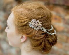 Gold Vintage Style Hair Draped Pearls and Crystal Rose Features, Anita Gold.