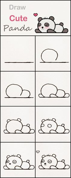 Learn how to draw a cute baby Panda step by step ♥ very simple tutorial panda . Zeichnungen iDeen ✏️ manualidades kawaii Learn how to draw a cute baby Panda step by step ♥ very simple tutorial panda . Easy Drawing Tutorial, Drawing Tutorials For Kids, Drawing For Kids, Baby Drawing, Body Tutorial, Easy Drawings For Beginners, Drawing Hair, Drawing Drawing, Drawing Poses