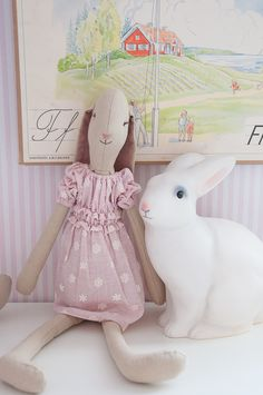 Maileg rabbit and white rabbit lamp. Bunny. Nursery.