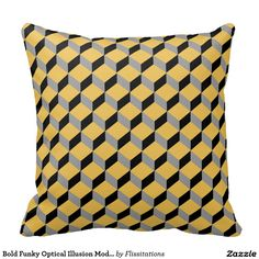 Such a fantastic home accessory for anyone who likes to stand out from the crowd. Bold statement pieces in a modern, funky optical illusion repeat pattern with mustard/yellow, black and grey tones. Modern Cushions, Fashion Room, Repeating Patterns, Optical Illusions, Soft Furnishings, Custom Pillows, Mustard Yellow, Yellow Black, Home Textile